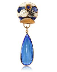 Sonia Boyajian | Blue Gypsy Zircon And Gold Plated Pin | Lyst