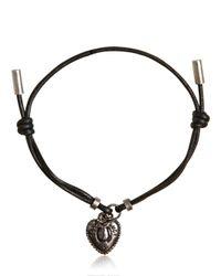 Dolce & Gabbana | Black Waxed Strap & Metal Chain Bracelet for Men | Lyst