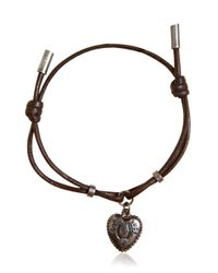 Dolce & Gabbana | Brown Waxed Strap & Metal Chain Bracelet for Men | Lyst