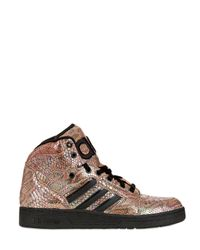 Jeremy Scott for adidas | Multicolor Python Printed Leather High Top Sneakers | Lyst