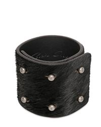 Rick Owens | Black 6cm Ponyskin 6 Pin Bracelet for Men | Lyst