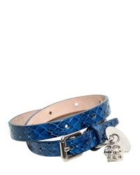 Alexander McQueen   Blue Skull Charm Watersnake Bracelet for Men   Lyst
