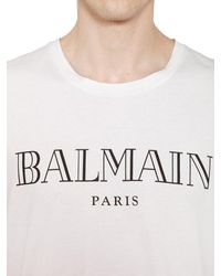 Balmain - White Logo Printed Cotton Jersey T-shirt for Men - Lyst