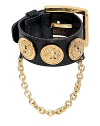 Versus  - Metallic Leather Bracelet With Medusa Coins - Lyst