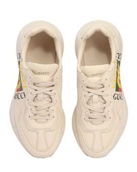 Gucci - White Rhyton Vintage Logo Leather Sneakers for Men - Lyst