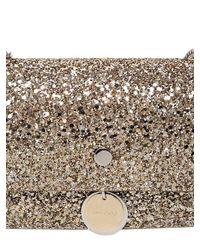 Jimmy Choo   Metallic 'finley' Shadow Coarse Glitter Crossbody Bag   Lyst
