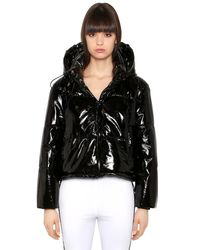 MSGM - Black Quilted Vinyl Puffer Jacket - Lyst