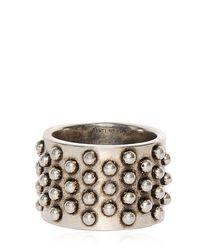 Alexander McQueen - Metallic Studded Metal Ring for Men - Lyst