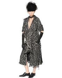 Lanvin | Black Wool & Cotton Blend Tweed Coat | Lyst