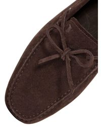 Tod's - Brown Gommino 122 Tie Suede Driving Shoes for Men - Lyst