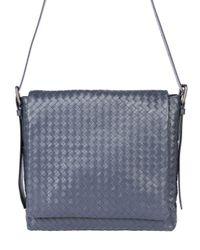 Bottega Veneta | Blue Intrecciato Leather Messenger Bag for Men | Lyst