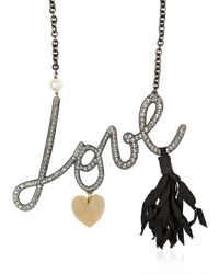Lanvin | Metallic Love Swarovski Embellished Necklace | Lyst