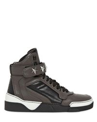 Givenchy - Gray Tyson Two Tone Leather High Top Sneakers for Men - Lyst