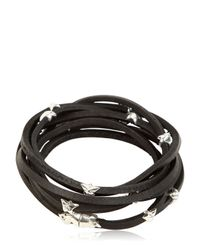 Tomasz Donocik | Metallic Sterling Stars & Leather Wrap Bracelet | Lyst