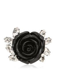 Mawi - Black Rose & Crystal Spring Ring - Lyst