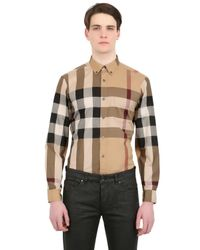 Burberry Brit | Natural Macro Checked Cotton Shirt for Men | Lyst
