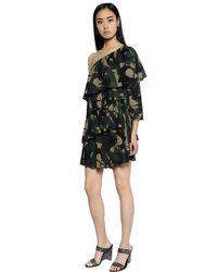 Sonia Rykiel Multicolor Abito In Crepe Di Cotone Camouflage