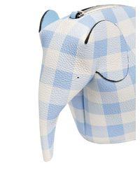 Loewe - Blue Elephant Gingham Leather Shoulder Bag - Lyst