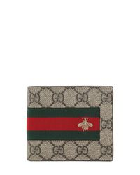 Gucci Natural Coated Canvas Wallet W/ Web & Bee for men