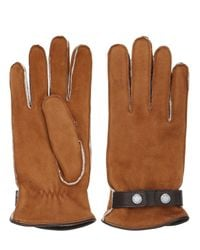 Mario Portolano | Brown Shearling Gloves With Snap Button Strap | Lyst