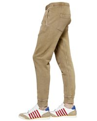 DSquared² - Brown Washed Cotton Jogging Pants for Men - Lyst