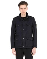 Stone Island | Blue Padded Coated David Tc Field Jacket for Men | Lyst