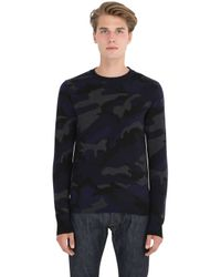Valentino - Blue Camouflage Intarsia Cashmere Sweater for Men - Lyst