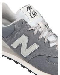 New Balance - Gray 574 Nylon & Suede Sneakers - Lyst