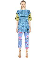 House of Holland | Blue Keffiyeh Check Cotton T-shirt Dress | Lyst