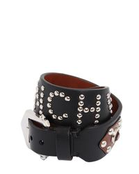 Givenchy - Black Studded Leather Wrap Bracelet - Lyst