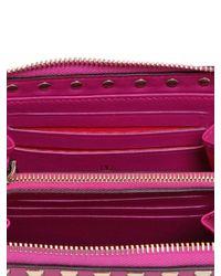 Valentino - Pink Rockstud Leather Zip Around Wallet - Lyst