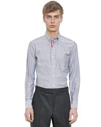Thom Browne | Blue Cotton Oxford Shirt W/ Grosgrain Detail for Men | Lyst