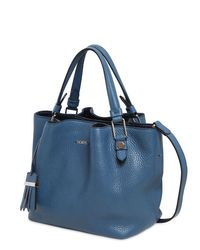 Tod's - Blue Small Flower Grained Leather Bag - Lyst