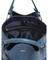 Tod's | Blue Small Flower Grained Leather Bag | Lyst