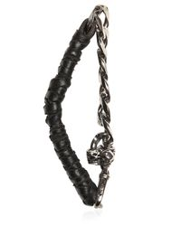 Emanuele Bicocchi - Metallic Silver Chain & Woven Leather Bracelet for Men - Lyst