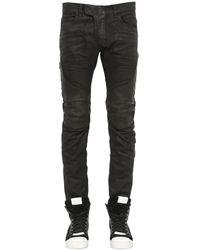 Balmain | Black 17cm Biker Coated Cotton Denim Jeans | Lyst