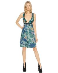 Burberry Prorsum | Blue Quilted Floral Cotton Dress | Lyst