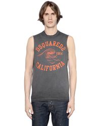 DSquared² | Gray Washed Cotton Jersey Sleeveless T-shirt for Men | Lyst