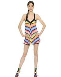 Missoni | Multicolor Crossed Back Viscose Knit Babydoll Dress | Lyst