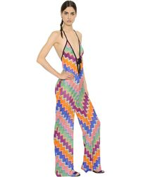 Missoni | Multicolor Halter Neck Zigzag Viscose Knit Jumpsuit | Lyst