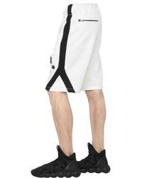 Y-3 - White Logo Detail Cotton Jogging Shorts for Men - Lyst