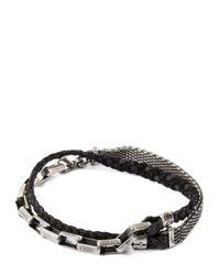 Title Of Work | Black Mesh, Chain & Braided Leather Bracelet for Men | Lyst