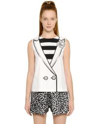 Boutique Moschino   Black Vest With Flower Printed Techno Cady Top   Lyst