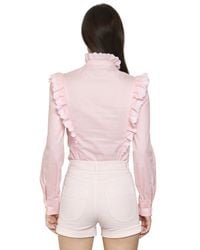 Philosophy Di Lorenzo Serafini | Pink Ruffled Cotton Poplin Shirt | Lyst