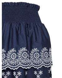 Philosophy Di Lorenzo Serafini - Blue Embroidered Cotton Poplin Eyelet Skirt - Lyst