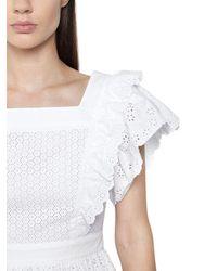 Philosophy Di Lorenzo Serafini - White Embroidered Cotton Poplin Eyelet Dress - Lyst