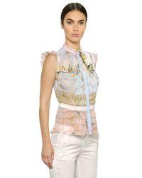 Piccione.piccione - Blue Printed Pleated Silk Chiffon Shirt - Lyst