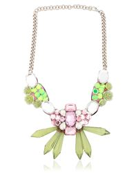 Ortys | Green Floral & Crystals Wire Frame Necklace | Lyst
