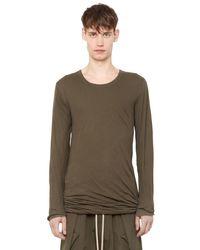 Rick Owens - Green Double Cotton Jersey Long Sleeve T-shirt for Men - Lyst