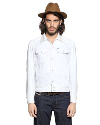 DIESEL - White Denim Jacket W/ Nappa Leather Collar for Men - Lyst